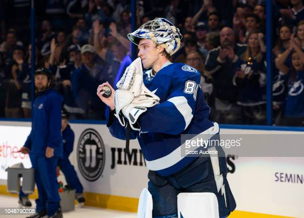 Goalie Andrei Vasilevskiy of the Tampa Bay Lightning celebrates the win against the Florida Panthers at Amalie Arena on October 6 2018 in Tampa...