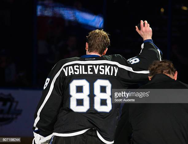 Goalie Andrei Vasilevskiy of the Tampa Bay Lightning celebrates the win after being named the number one start of the game against the Toronto Maple...