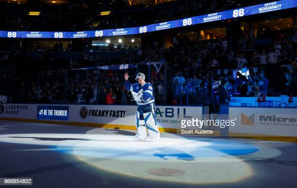 Goalie Andrei Vasilevskiy of the Tampa Bay Lightning celebrates the win against the Detroit Red Wings at Amalie Arena on October 26 2017 in Tampa...