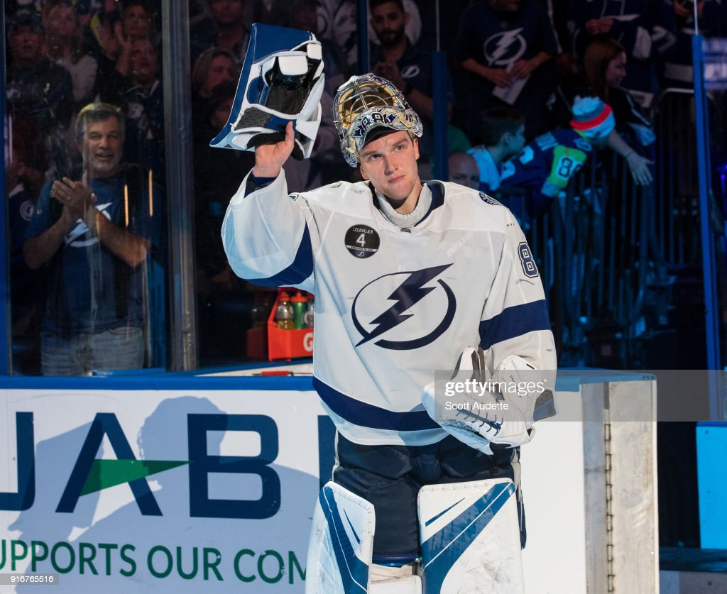 Goalie Andrei Vasilevskiy #88 of the Tampa Bay Lightning celebrates the win against the Los Angeles Kings at Amalie Arena on February 10, 2018 in Tampa, Florida.