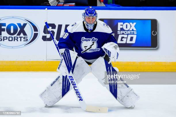 Goalie Andrei Vasilevskiy of the Tampa Bay Lightning during the pre-game warm up sporting the reverse retro jersey prior to the game against the...