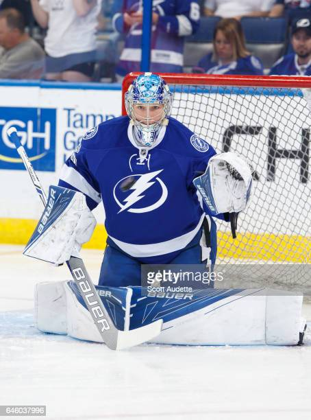 Goalie Andrei Vasilevskiy of the Tampa Bay Lightning gets ready for the game against the Ottawa Senators at Amalie Arena on February 27 2017 in Tampa...