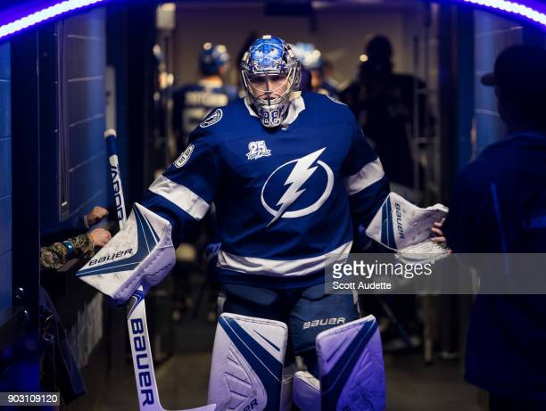 Goalie Andrei Vasilevskiy of the Tampa Bay Lightning gets ready for the game against the Carolina Hurricanes at Amalie Arena on January 9 2018 in...