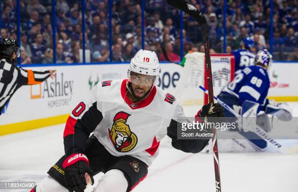 Goalie Andrei Vasilevskiy of the Tampa Bay Lightning gives up a goal against Anthony Duclair of the Ottawa Senators during the second period at...
