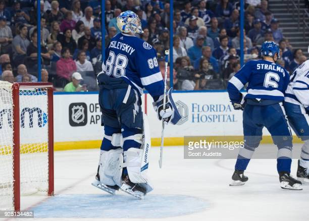 Goalie Andrei Vasilevskiy of the Tampa Bay Lightning jumps against the Toronto Maple Leafs during the second period at Amalie Arena on February 26...