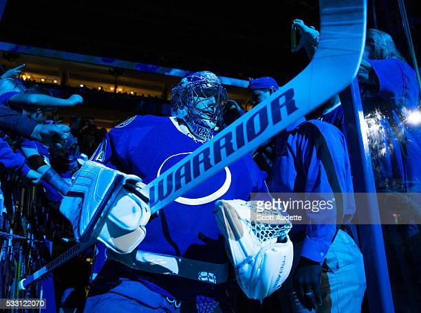 Goalie Andrei Vasilevskiy of the Tampa Bay Lightning leads his team out to the ice for the pregame warm ups against the Pittsburgh Penguins before...