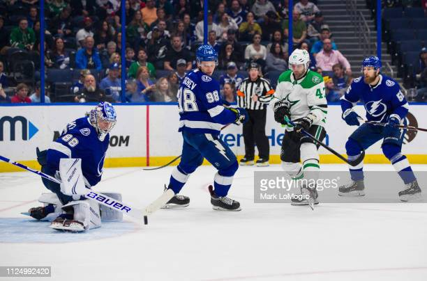 Goalie Andrei Vasilevskiy of the Tampa Bay Lightning makes a save against the Dallas Stars in the third period at Amalie Arena on February 14 2019 in...