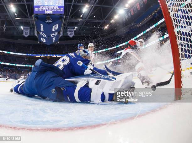 Goalie Andrei Vasilevskiy of the Tampa Bay Lightning makes a save against the Ottawa Senators during the first period at Amalie Arena on February 27...