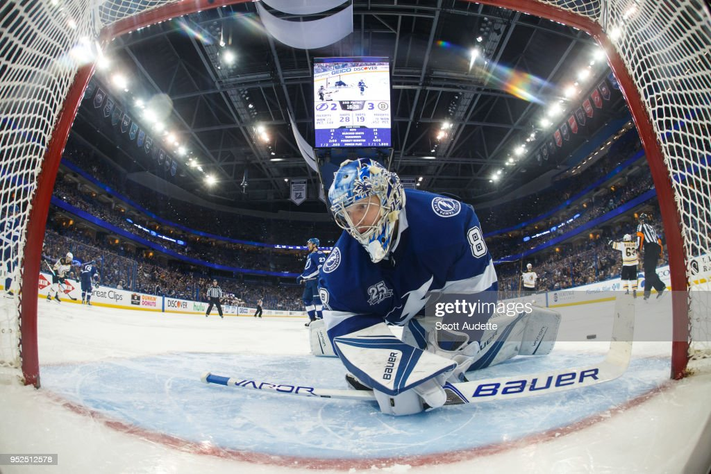 Goalie Andrei Vasilevskiy #88 of the Tampa Bay Lightning reacts to giving up a goal to Brad Marchand #63 of the Boston Bruins during Game One of the Eastern Conference Second Round during the 2018 NHL Stanley Cup Playoffs at Amalie Arena on April 28, 2018 in Tampa, Florida.