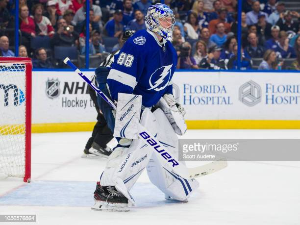 Goalie Andrei Vasilevskiy of the Tampa Bay Lightning skates against the Detroit Red Wings during the second period at Amalie Arena on October 18 2018...