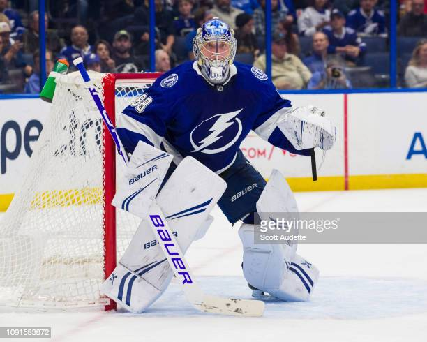 Goalie Andrei Vasilevskiy of the Tampa Bay Lightning skates against the Columbus Blue Jackets during second period at Amalie Arena on January 8 2019...
