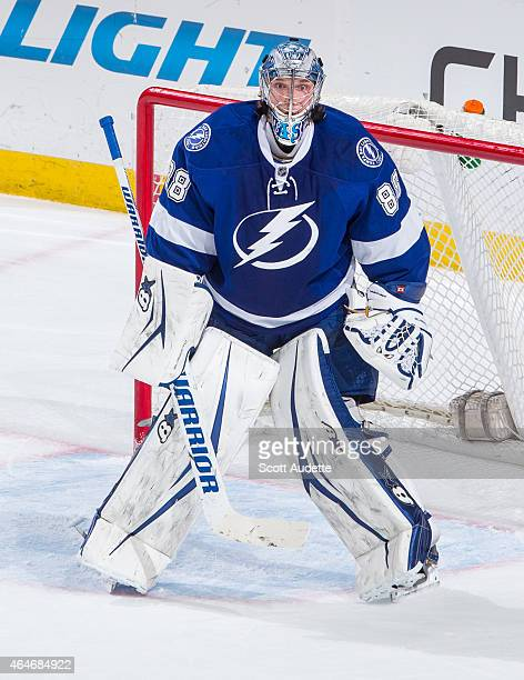 Goalie Andrei Vasilevskiy of the Tampa Bay Lightning skates against the St Louis Blues during the third period at the Amalie Arena on February 12...