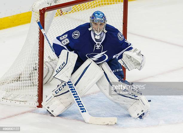 Goalie Andrei Vasilevskiy of the Tampa Bay Lightning skates against the Buffalo Sabres during second period at the Amalie Arena on November 10 2015...