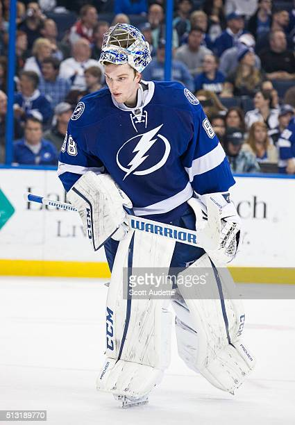 Goalie Andrei Vasilevskiy of the Tampa Bay Lightning skates against the Arizona Coyotes during the second period at the Amalie Arena on February 23...