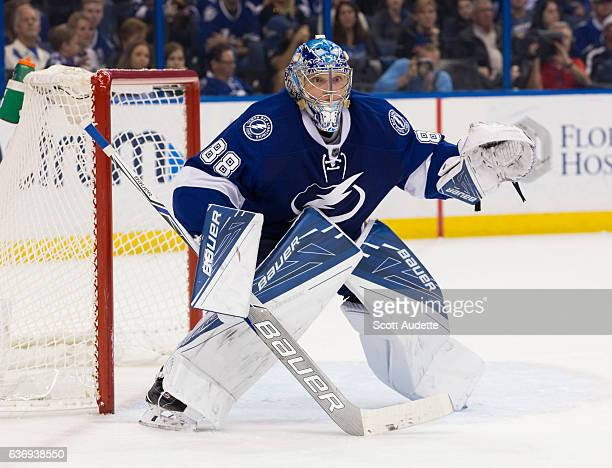 Goalie Andrei Vasilevskiy of the Tampa Bay Lightning skates against the St Louis Blues during second period at Amalie Arena on December 22 2016 in...