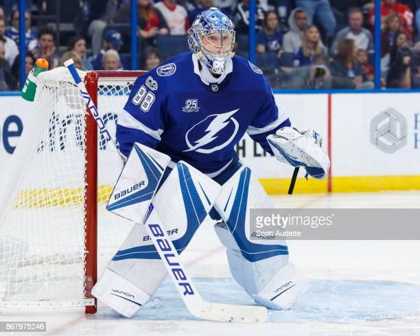 Goalie Andrei Vasilevskiy of the Tampa Bay Lightning skates against the Detroit Red Wings during the second period at Amalie Arena on October 26 2017...