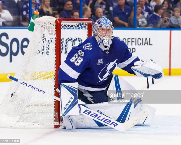 Goalie Andrei Vasilevskiy of the Tampa Bay Lightning skates against the Dallas Stars during the second period at Amalie Arena on November 16 2017 in...