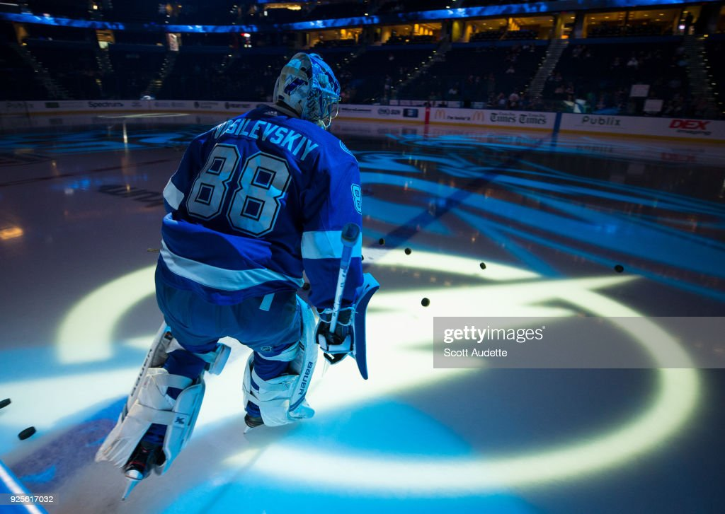 Goalie Andrei Vasilevskiy #88 of the Tampa Bay Lightning skates against the Buffalo Sabres during the pregame warm ups at Amalie Arena on February 28, 2018 in Tampa, Florida.