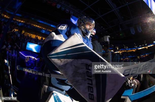 Goalie Andrei Vasilevskiy of the Tampa Bay Lightning steps out to the ice for the pregame warm ups against the Buffalo Sabres at Amalie Arena on...