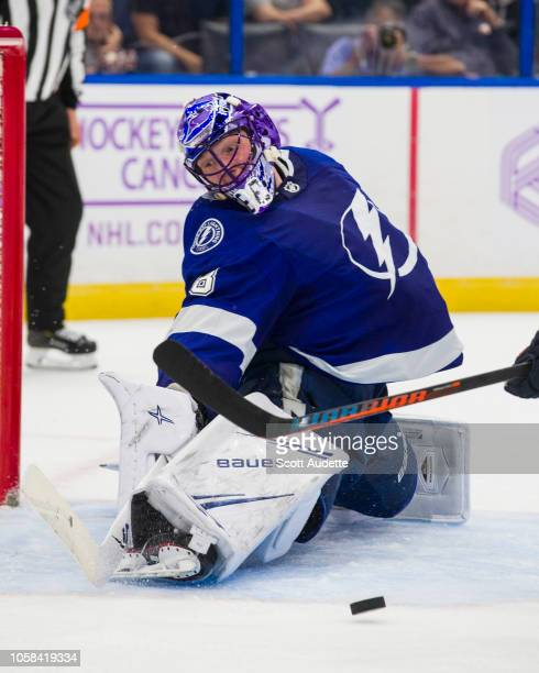 Goalie Andrei Vasilevskiy of the Tampa Bay Lightning stretches to make a save against the Edmonton Oilers at Amalie Arena on November 6 2018 in Tampa...