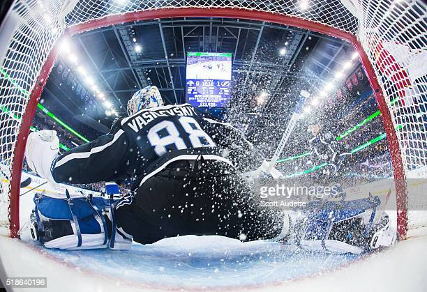 Goalie Andrei Vasilevskiy of the Tampa Bay Lightning tends net against the Florida Panthers during the first period at the Amalie Arena on March 26...