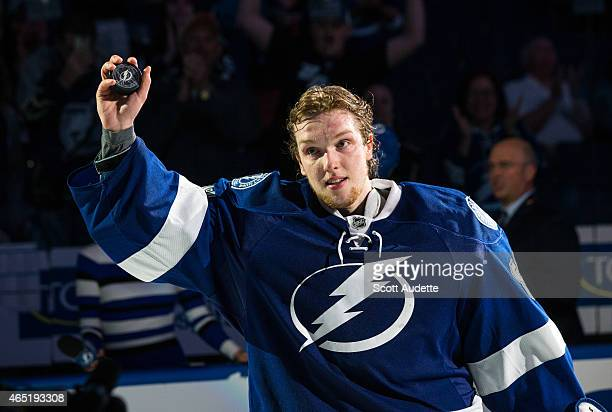 Goalie Andrei Vasilevskiy of the Tampa Bay Lightning thanks fans for their support after being name the first star of the game against the Buffalo...