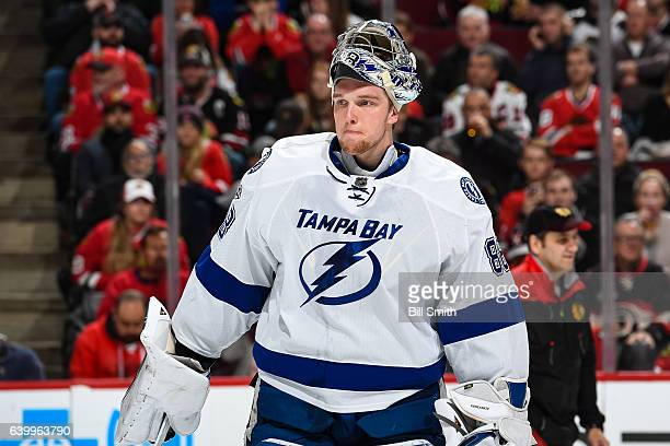 Goalie Andrei Vasilevskiy of the Tampa Bay Lightning waits for play to begin in the first period against the Chicago Blackhawks at the United Center...
