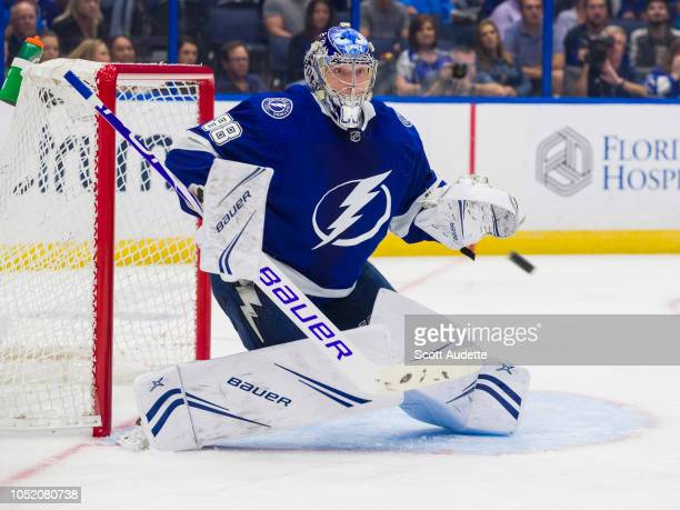 Goalie Andrei Vasilevskiy of the Tampa Bay Lightning watches the puck against the Columbus Blue Jackets during the second period at Amalie Arena on...