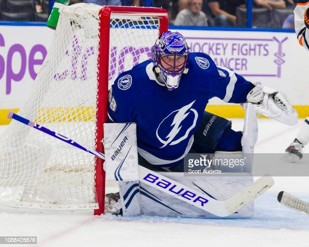 Goalie Andrei Vasilevskiy of the Tampa Bay Lightning wears a special helmet for Hockey Fights Cancer Night during the game against the Edmonton...