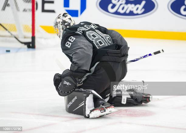 Goalie Andrei Vasilevskiy of the Tampa Bay Lightning wears the new third jerseys before the game against the St Louis Blues at Amalie Arena on...