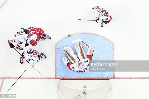 Goalie Andrew Hammond of the Ottawa Senators in action against the Washington Capitals at Verizon Center on December 16 2015 in Washington DC