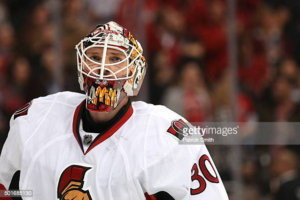 Goalie Andrew Hammond of the Ottawa Senators looks on after allowing a goal to John Carlson of the Washington Capitals in the second period at...