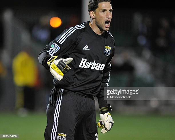Goalie Andy Gruenebaum of the Columbus Crew directs play against Orlando City February 16 2013 in the third round of the Disney Pro Soccer Classic in...