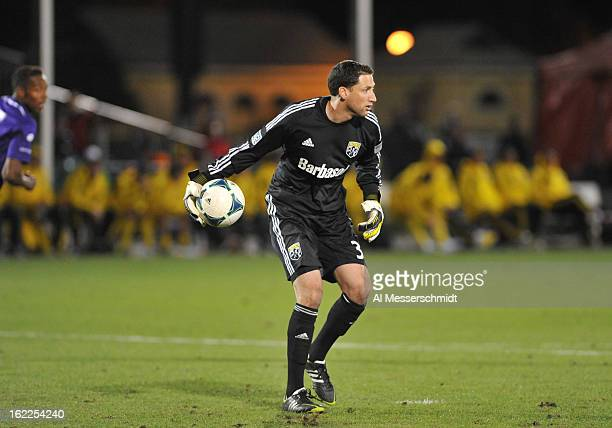 Goalie Andy Gruenebaum of the Columbus Crew passes against Orlando City February 16 2013 in the third round of the Disney Pro Soccer Classic in...