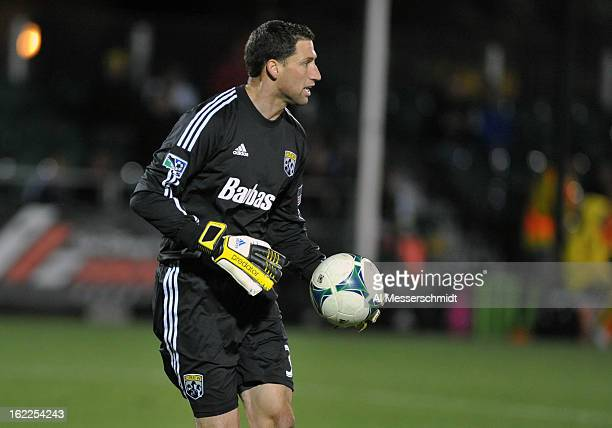 Goalie Andy Gruenebaum of the Columbus Crew sets to kick against Orlando City February 16 2013 in the third round of the Disney Pro Soccer Classic in...