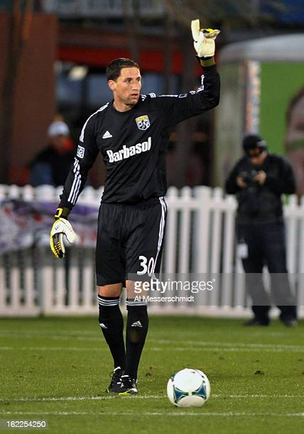 Goalie Andy Gruenebaum of the Columbus Crew sets to kick upfield against Orlando City February 16 2013 in the third round of the Disney Pro Soccer...