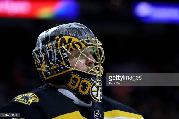 Goalie Anton Khudobin of the Boston Bruins looks on against the Philadelphia Flyers in the second period at Wells Fargo Center on April 1 2018 in...