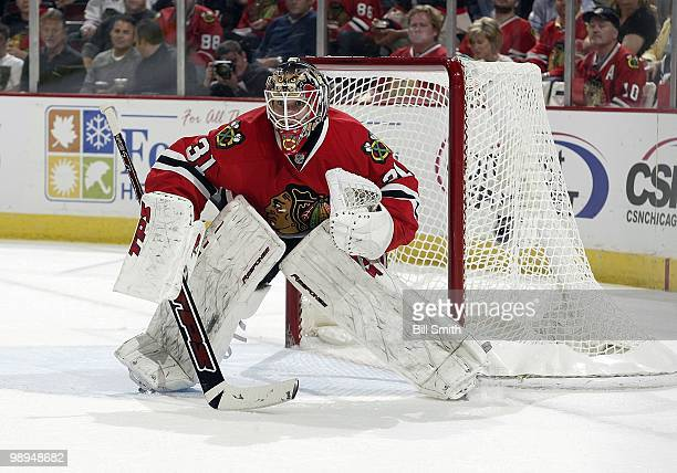 Goalie Antti Niemi of the Chicago Blackhawks protects the net at Game Two of the Western Conference Semifinals against the Vancouver Canucks during...