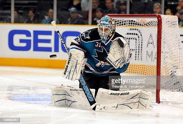 Goalie Antti Niemi of the San Jose Sharks makes a glove hand save against the Nashville Predators in the first period of an NHL hockey game at the HP...