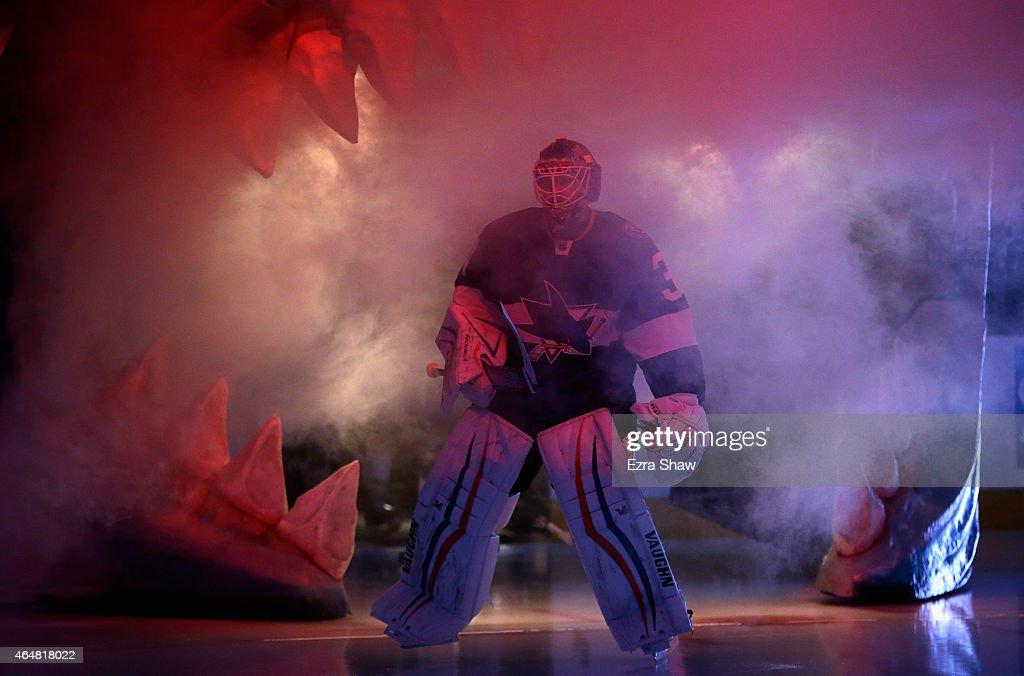 Goalie Antti Niemi #31 of the San Jose Sharks skates onto the ice for their game against the Ottawa Senators at SAP Center on February 28, 2015 in San Jose, California.