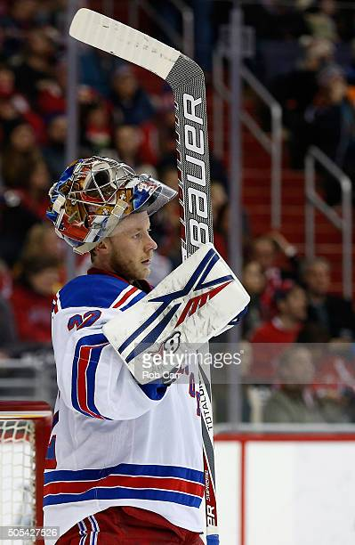 Goalie Antti Raanta of the New York Rangers looks on after giving up a second period goal to the Washington Capitals during the Capitals 52 win at...
