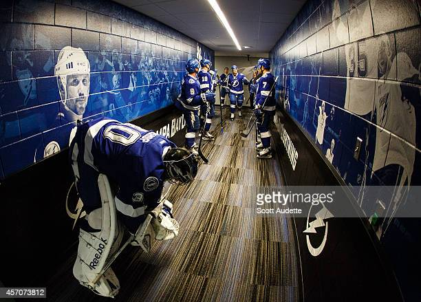 Goalie Ben Bishop of the Tampa Bay Lightning gets ready for pre game warmups prior to the game against the Ottawa Senators at the Amalie Arena on...