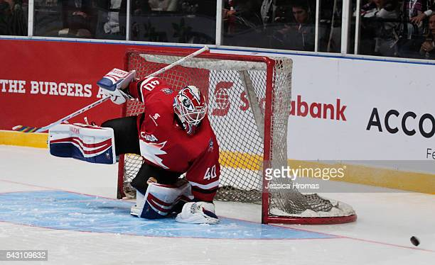 Goalie Ben Scrivens defends for Canada during the Wayne Gretzky Ice Hockey Classic match Team USA and Team Canada at Qudos Bank Arena on June 25 2016...