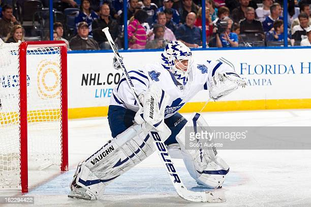 Goalie Ben Scrivens of the Toronto Maple Leafs defends the goal during the first period of the game against the Tampa Bay Lightning at the Tampa Bay...