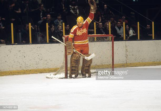 Goalie Bernie Parent of the Philadelphia Blazers defends the net during an WHA game circa 1973