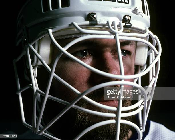 Goalie Billy Smith of the New York Islanders poses in January 1982 in Long Island New York