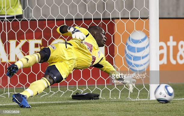 Goalie Bouna Coundoul of the New York Red Bulls has a penalty kick scored on him by Real Salt Lake during the second half of an MLS soccer game...