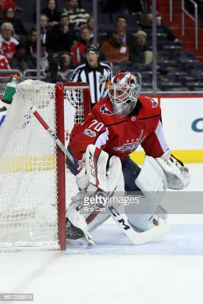 Goalie Braden Holtby of the Washington Capitals follows the puck against the Colorado Avalanche in the first period at Capital One Arena on December...
