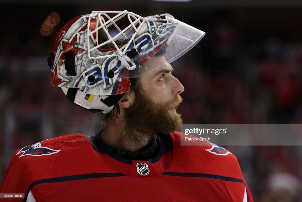 Goalie Braden Holtby #70 of the Washington Capitals in action against the Boston Bruins at Capital One Arena on December 28, 2017 in Washington, DC.