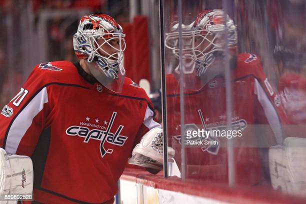 Goalie Braden Holtby of the Washington Capitals looks on against the New York Rangers during the third period at Capital One Arena on December 08...